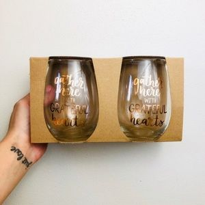 """Gather Here With Grateful Hearts"" Wine Glass Set"